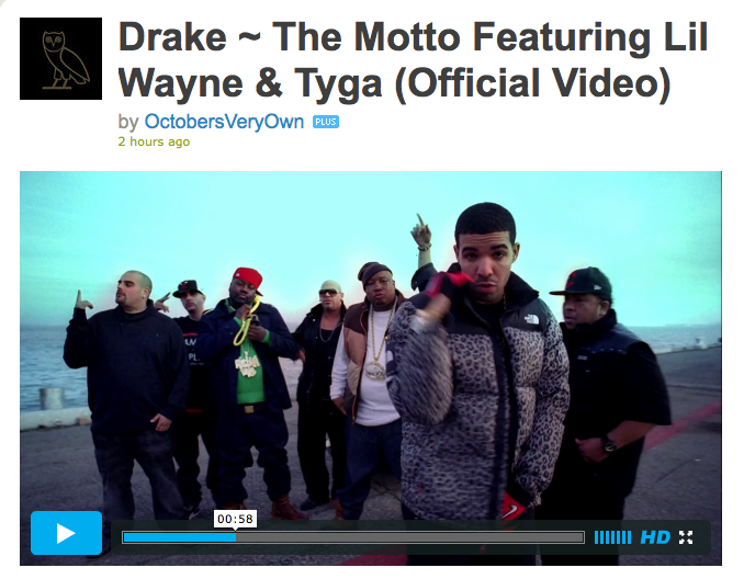"Must-see video! DRIZZY ""THE MOTTO"" #BAYLUV #CALILUV @e40"