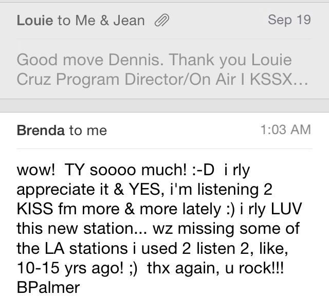 From Brenda in SD listening to my mix on Kiss